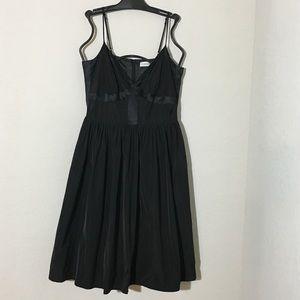 Calvin Klein Fit & Flare Dress Black V Neck Sz 6